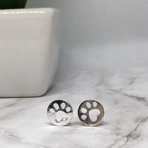 Jewelry - Minimalist Cat or Dog Paw Earrings Silver